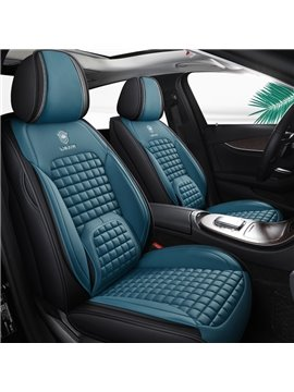 Car Seat Cover 5 Seats PU Leather Material Comfortable Fabric Airbag Compatible Wear-Resistant Unfadingly All Seasons Comfortable Back Universal Fit Seat Covers