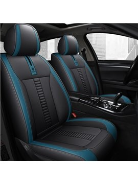 Simple Style Car Seat Cover 5 Seats PU Leather Material Comfortable Fabric Airbag Compatible Wear-Resistant Unfadingly All Seasons Universal Fit Seat Covers