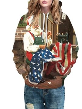 Christmas Santa Claus 3D Women's Hoodie Print Green Unisex Pullover Hoodies Fashion Long Sleeve Sweatshirt Sportswear