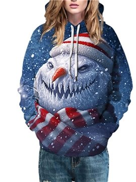Christmas Creative Snowman 3D Women's Hoodie Print Blue Unisex Pullover Hoodies Fashion Long Sleeve Sweatshirt Sportswear