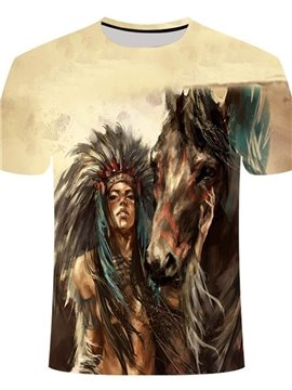 Animal Print Round Neck Women's T-Shirt Indian Woman and Horse Print Casual Summer Loose Short Sleeve