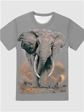 Elephant Print Round Neck Women's T-Shirt Gray Casual Summer Loose Short Sleeve