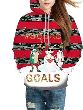3D Print Christmas Cartoon Women's Hoodie Red Creative Unisex Pullover Hoodies Fashion Long Sleeve Sweatshirt Sportswear