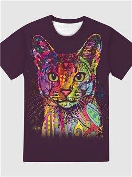 Cat Print Round Neck Women's T-Shirt Purple Casual Summer Loose Short Sleeve