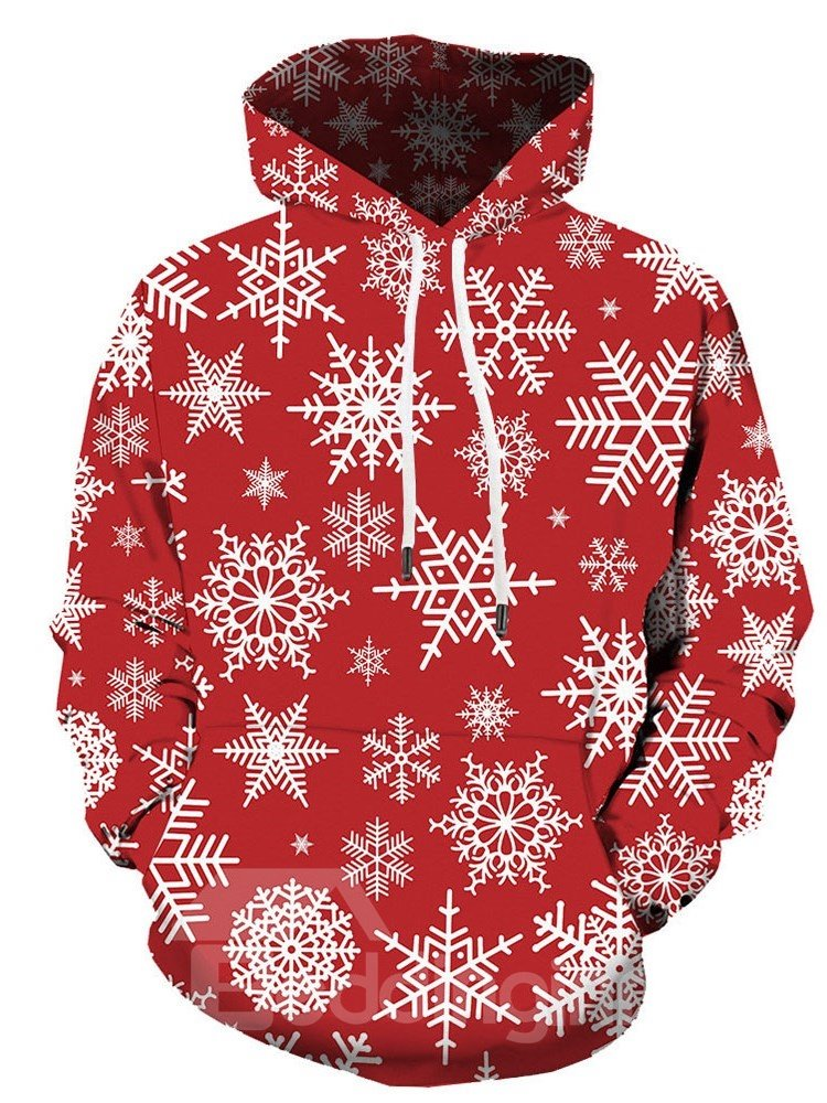 3D Christmas Snowflake Print Mens Hoodie Red Casual Soft Loose Long Sleeve Breathable and Durable Pullover Sweatshirt
