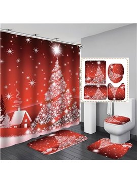 3D Print Christmas Tree Shower Curtain Red Polyester Waterproof Antibacterial and Eco-friendly