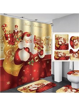 3D Christmas Santa Claus Shower Curtain Red Polyester Waterproof Antibacterial and Eco-friendly