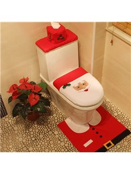 Christmas Santa Claus Pattern Red 3-Piece Toilet Seat Cover and Rug Sets Eco-Friendly Cloth