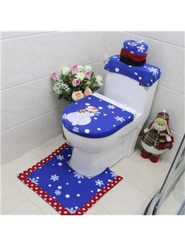 Christmas Snowman Pattern Blue 3-Piece Toilet Seat Cover and Rug Sets