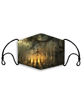 100% Cotton Safety Shield Four Seasons Universal Cotton Shield Halloween 3D Printing Dustproof Ear-mounted Shield Children Adult General Cotton Shield Breathable Shield