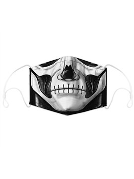 100% Cotton Four Seasons Universal Cotton Shield Halloween Skull Digital Printing Adjustable Ear Hook Dustproof PM2.5 Shield Suitable for Adults and Children