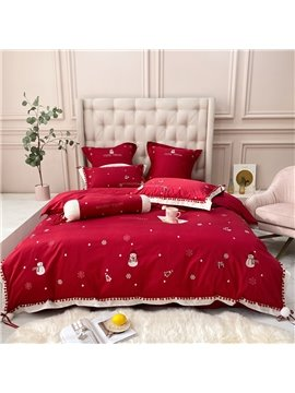 Christmas Embroidery Cotton Royal Silky Duvet Cover Bedding Set Bed Sheet Set Queen Full 4PC 2 Pillowcases Ultra-soft Microfiber No-fading
