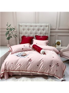Christmas Embroidery Cotton Royal Silky Duvet Cover Bedding Set Bed Sheet Set Queen Full 4PC 2 Pillowcases All-Season Ultra-soft Microfiber No-fading