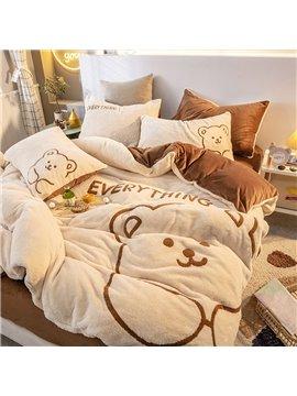Super Soft 4-Piece Fluffy Bedding Sets Duvet Cover Flat Sheet 2 Pillowcases Wear-resistant Endurable Skin-friendly All-Season Ultra-soft Microfiber No-fading