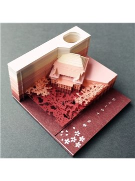 Japan Omoshiroi Block Model Note Paper Creative Temple Paper Sculpture Sticky Note Tik Tok