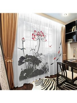 3D Lotus Ink Painting Sheer Curtain Decoration 2 Panels Chiffon Sheer for Living Room 30% Shading Rate No Pilling No Fading No off-lining