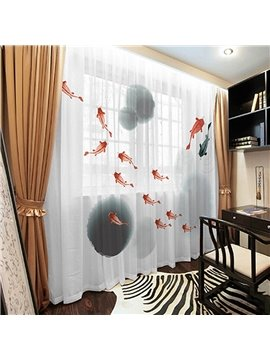 3D Goldfish Ink Painting Sheer Curtain Decoration 2 Panels Chiffon Sheer for Living Room 30% Shading Rate No Pilling No Fading No off-lining