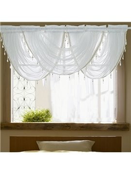 White Waterfall Window Sheer Valance 3 Pcs Voile Short Curtain for Kitchens Bathrooms Basements & More Princess Style