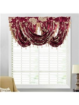 European Jacquard Floral Window Valance Polyester Short Curtain for Kitchens Bathrooms Basements & More