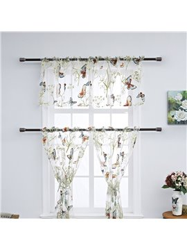 Butterfly Pattern Embroidered Window Valance 3 Pcs Sheer Voile Short Curtain for Kitchens Bathrooms Basements & More