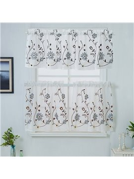 Pastoral Floral Embroidery Window Valance Decorative 1 Pc Sheer Voile Short Curtain for Kitchens Bathrooms Basements & More