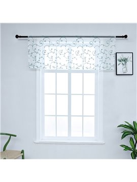 American Rustic Style Embroidered Vines Window Valance Sheer Voile Short Curtain for Kitchens Bathrooms Basements & More
