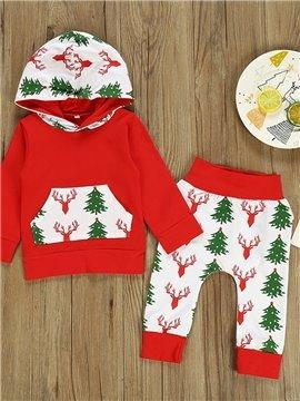Christmas Tree Print Fashion Unisex Plant Clothing Sets for Little Big Girls Long Sleeve Pajama Sets 100% Cotton Pjs