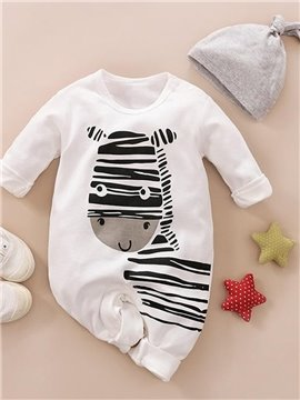 Children's Spring and Autumn Winter Baby Piece Pajamas 100% Cotton for Infants Jumpsuits Long Sleeve Zebra