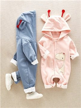 Children's Spring and Autumn Winter Baby Piece Pajamas 100% Cotton for Infants Jumpsuits Long Sleeve Giraffe
