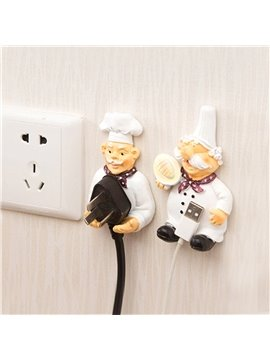 Cartoon Plug Hook Power Cord Storage Rack Strong Viscose Kitchen Wall Hanging Hook Socket Holder