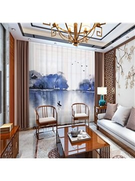 3D Blue Ink Painting Sheer Curtains Decoration 2 Panels Chiffon Sheer for Living Room 30% Shading Rate No Pilling No Fading No off-lining
