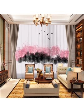 3D Modern Ink Painting Sheer Curtains Decoration 2 Panels Chiffon Sheer for Living Room 30% Shading Rate No Pilling No Fading No off-lining