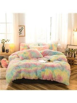 Luxury Plush Shaggy Duvet Cover Set Winter Warm Gray Thick Mink Wool Bed Skirt 4Pcs Fluffy Bedding Sets Solid Zipper Closure