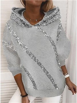Women's Hooded Loose Casual Style Hoodie Patchwork Sequins Long Sleeve Pullover Sweater