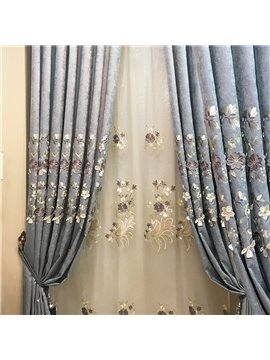 European Elegant Floral Embroidery Sheer Curtains for Living Room Bedroom Decoration Custom 2 Panels Breathable Voile Drapes No Pilling No Fading No off-lining