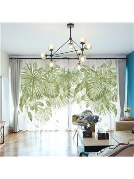 3D Modern Plant Print Sheer Curtains Decoration 2 Panels Green Chiffon Sheer for Living Room 30% Shading Rate No Pilling No Fading No off-lining