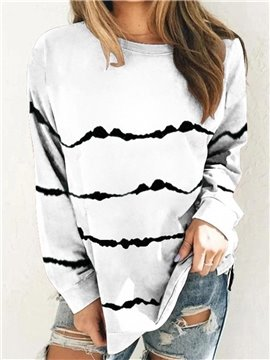 Casual Loose Long Sleeve Stripe Round Neck Mid-Length Women's T-Shirt