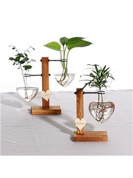Creative Love Hydroponic Glass Vase Wooden Living Room Flower Arrangement Ornament Set Plant Dried Flower Transparent Container Bottle No Plant