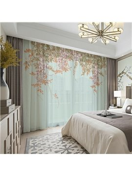 3D Print Pastoral Floral Sheer Curtains Decoration 2 Panels Polyester Sheer for Living Room 30% Shading Rate No Pilling No Fading No off-lining