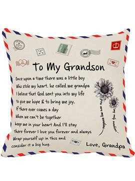 Best Birthday Gift To My Grandson Throw Pillow Cases on The Living Room Sofa Suitable for Home Christmas and New Year Gifts 45X45CM