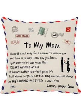 Mother's Day Best Gift To My Mom Square Throw Pillow Cases on The Living Room Sofa Suitable for Home Christmas and New Year Gifts 45X45CM