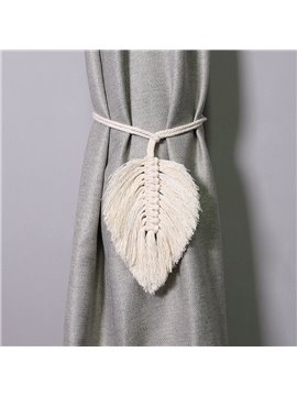 Nordic Curtain White Tiebacks Leaf Shape 1 Pair Hand-woven Cotton Rope Curtain Buckle Ornaments