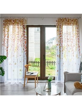 Modern Style Rod Pocket Sheer Curtains Willow Leaves Printed Custom 2 Panels Breathable Voile Drapes for Living Room Bedroom No Pilling No Fading No off-lining