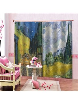 Creative 3D Printed Oil Painting Landscape Blackout Curtains Custom 2 Panels Drapes for Living Room Bedroom No Pilling No Fading No off-lining Polyester