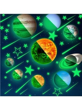 Glow Planets and Stars Bright Solar System Wall Stickers Sun Earth Mars and so on Glowing Ceiling Decals for Bedroom Living Room Shining Space Decoration for Kids for Girls and Boys