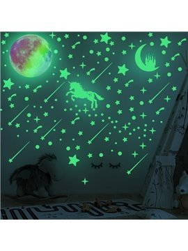Luminous Dots Stars Stickers Fairytale Glowing Unicorn Ceiling Decal Set and 1 Piece Glowing Colorful Moon Fluorescent Moon Castle Wall Decor Sticker for Kids Nursery Bedroom DIY