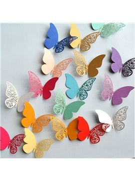 3D Butterfly Wall Stickers 12 PCS Hollow Out Colorful DIY Butterflies Wall Decor Set Removable Metallic Paper Butterfly Stickers for Wedding Party Room Kids Bedroom Butterfly Decorations