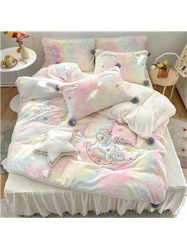 Rainbow Bed Set for Kids Teens Girls Duvet Cover and Pillow Cases 4 Pieces Watercolor Comforter Cover Bedskirt Warm Endurable