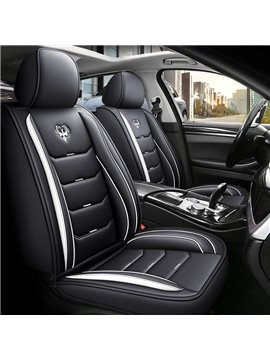 Full Coverage Sport Style 5 Seater Universal Fit Seat Covers High Quality Leather Material Wear Resistant and Durable (Ford Mustang and Chevrolet Camaro are Not Suitable)