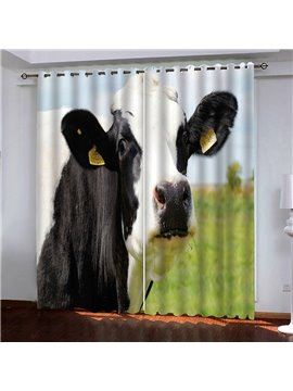 Modern 3D Print Cow Blackout Curtains Custom 2 Panels Drapes for Living Room Bedroom No Pilling No Fading No off-lining Heat insulation Sun Protection Waterproof Polyester